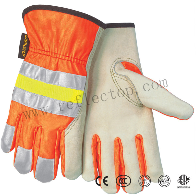 Elastic reflective fabric for glove